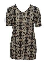Plus Size 16 - 32 Ladies Print Black Brown Pattern Tunic Dress Short Sleeve