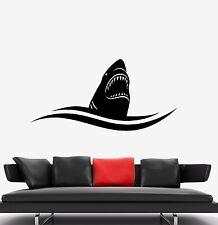 Wall Sticker Vinyl Decal Shark Ocean Sea Fall Fish Hat Wave (ed464)