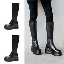 Women Leather Winter Warm Wedge Heel Platform Goth Punk Mid Calf Knee High Boots