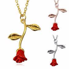 Bella y la Bestia Colgante Flor de Rosa Roja Collar Oro Plata Regalo de Joyería