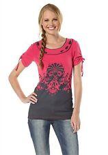 Damen Shirt Print Tunika Top Longshirt Mini Kleid pink 32 34 36 Neu Sale *014*