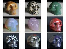 39mm Rose quartz opalite aventurine flame jasper blue goldstone skull figurine