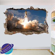 Cohete de lanzamiento de transbordador espacial 3D Pared Adhesivo Decoración de habitación destrozada Calcomanía Mural ZH7
