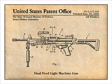 1992 Israeli Duel Feed Light Machine Gun Patent Print Art Drawing Poster 18X24