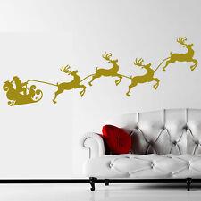 Sticker Mural Noël - Père Noël et traîneau - Choix taille et couleur