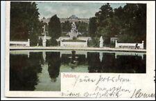 Potsdam Brandenburg alte Litho-AK 1901 gelaufen Partie am Schloß Sanssouci