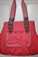 NWT! ALEXIS HUDSON Coral Nylon SCARLET Bow Shoulder Tote Bag $225