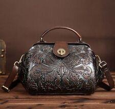 Vintage Silver/Khaki Women Genuine Leather Shoulder Bag Embossed Handbag Purse S