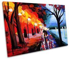 Autumn Park Lane River Print SINGLE CANVAS WALL ART Picture Red
