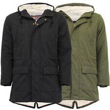 Mens Jacket Tokyo Laundry Parka Coat Hooded Sherp Lined Heavy Fish Tail Winter