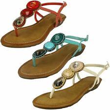 Savannah Ladies Large Stone Toe Post Sandals