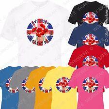 Remembrance Day Poppy Appeal Love UK England T Shirt D2 - Men Women Kids Unisex
