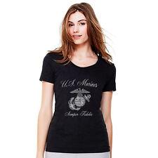 United States Marines Ladies Glitter Tees New T'Shirt