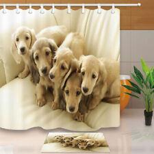 "Dog Dachshund Animal Decor Waterproof Bathroom Fabric Shower Curtain & Hooks 71"""