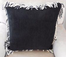 NEW Gorgeous BLACK & WHITE FRINGED CHENILLE Large 48cm Square Cushion Covers