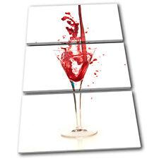 Wine Glass Pouring Food Kitchen TREBLE CANVAS WALL ART Picture Print VA