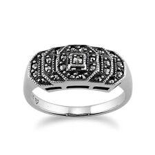 argento sterling 0.28ct CT marcasite Art Deco anello, stile