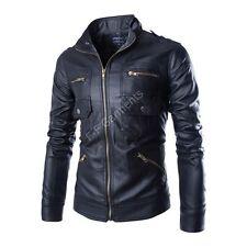 Men's New Slim Fit Pocketing Leather Jacket