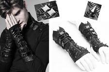 Mitaines gant gothique punk bondage zippé sangle métal clou spike PunkRave homme