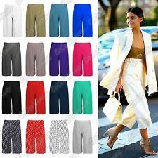 New Ladies Plain Wide Leg Culottes Short Palazzo 3/4 Length Summer Trousers Pant