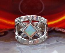 Ring Ägypten Sterling Silber 925 mit Mondstein Stein des Juni quadratisch