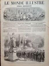 LE MONDE ILLUSTRE 1869 n 649 INAUGURATION DE LA STATUE DE GOETHE A MUNICH