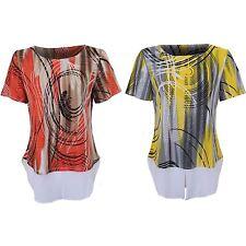 Ladies Short Sleeve Studded Lined Curved Hem Elegant Shirt T-Shirt Blouse Top