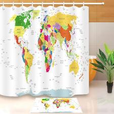 Precise Map of the World Shower Curtain Liner Waterproof Fabric Bathroom Mat Set