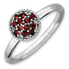 Sterling Silver Stackable Ring Garnet stone, Silver Birthstone Ring QSK321