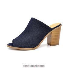 New Women Open Toe Slip on Slipper Backless Sandal Stacked Heel Blue Denim Tripp