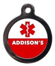 Addison's Medical Alert Pet Tag Pet ID Tag-Cane Gatto MEDICINA personalizzata Pet Tag