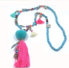 Nepal Ethnic Long Tassel Shell Indian Hippy Pom Pom Beaded Tribal Boho Necklace