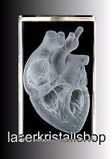 3D Laserkristall. Herz anatomisch / Leuchtsockel. NEU.Hologramm