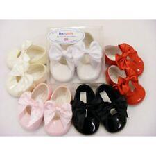Baypods Baby Girls Spanish Style Romany Large Satin Bow Soft Sole Pram Shoes