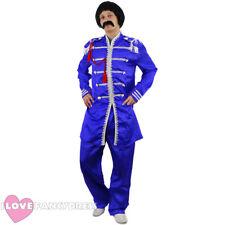 BLUE 1960'S POP SERGEANT PEPPER COSTUME MUSIC ICON HIPPY FANCY DRESS 60S THEME
