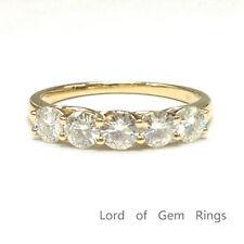 Moissanite Engagement Ring Wedding Band 14K Yellow Gold 3.5mm Round Cut