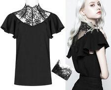 Top haut t-shirt gothique lolita victorien col montant dentelle volants PunkRave