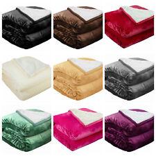 Sherpa Throw Blanket, Microfiber Velvet Soft Borrego Reversible Solid Blanket