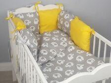 8 pc cot /cot bed bedding sets PILLOW BUMPER + CASES grey elephants yellow