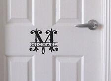 Custom Monogram Split Name Wall Door Sticker Personalized Decal 10-100cm