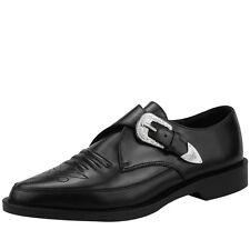 T.U.K. Occidental Detalle Plateado Punta Buckle Negro Zapatos Piel en Jam