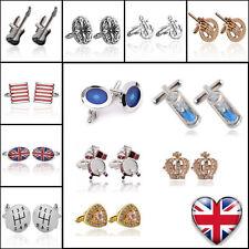 Mens Cufflinks Shirt Gold Silver Stainless Steel Business Wedding Cuff Links UK