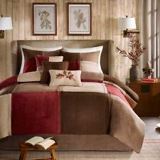 Beautiful Ultra Soft ~ Modern Textured Beige Red Brown Cabin Cozy Comforter Set