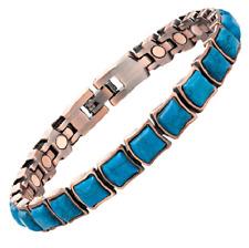 Bracelet magnétique cuivre vintage avec aimants et turquoises