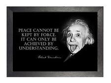 Albert Einstein de la paz Negro Blanco inspiración cita graciosa Póster Foto Nobel