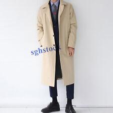 Men's Long Length Wind Coats Korean Business Overcoats Solid Loose Casual Jacket