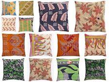 "Fair Trade Cotton Patchwork Cushion Cover Decorative Kantha Vintage 16""x16"" Boho"