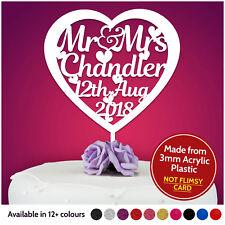 Mr and Mrs Personalised Wedding Cake Topper Table Decoration Keepsake Memory
