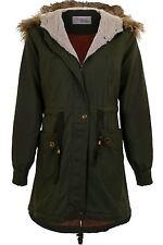 Ladies Detachable Faux Fur Hooded Zip Up Women's Winter Fish Tail Parka Coat