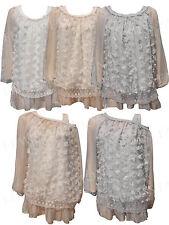 Women Italian 2 Piece Dress Long Sleeves Ladies Lace Top Vest Plus Size Blouse